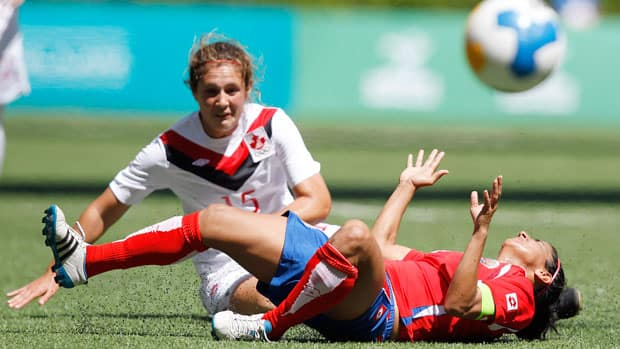 What happens when you come up against one of Canada's centre backs, like Shannon Woeller? Well, sometimes, this (as Costa Rica's Shirley Cruz found out during the Pan American Games last October). Woeller and Canada's backline will be tasked with marking Mexican star Maribel Dominguez in Friday's must-win semfinal at the CONCACAF Olympic qualifiers in Vancouver. (Mariana Bazo/Reuters)