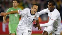 Canadian soccer fans will get a chance to see their cross-border rivals like American star Landon Donovan, left, and Edson Buddle, when the two sides meet in a friendly later this year. (Timothy A. ClaryAFP/Getty Images)