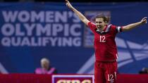 Team Canada striker Christine Sinclair exults in scoring in an Olympic qualifier at Vancouver on Jan. 27. (Rich Lam/Getty Images)