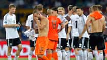 Wesley Sneijder from the Netherlands leaves the pitch after a Euro 2012 soccer championship Group B match against Germany in Kharkiv, Ukraine, Wednesday. (Matthias Schrader/Associated Press)