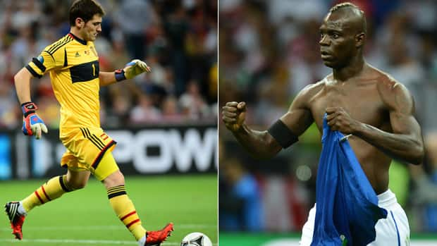 Italy's Mario Balotelli, right, will one of the biggest scoring threats to Spanish goalkeeper Iker Casillas, left, during the Euro 2012 final on Sunday in Kiev. (Getty Images)