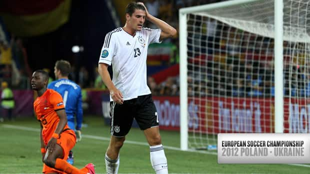 German striker Mario Gomez calmly walks away after scoring his second goal against the Netherlands Wednesday at the European championship in Kharkov, Ukraine. (Ian Walton/Getty Images)
