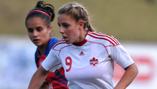 Adriana Leon (9) had a hat trick in Canada's opening win at the FIFA U-20 Women's World Cup. (Johan Ordonez/Getty Images)