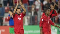Forward Dwayne De Rosario (14) put Canada in a good position to advance to the next round of World Cup qualifying after scoring the game-winning goal against Panama on Friday night. (Geoff Robins/Getty Images)