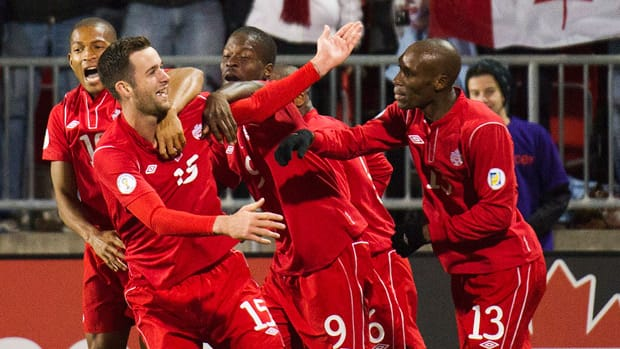 Defender David Edgar, front, has been a big contributor to Canada's World Cup qualifying effort. (Nathan Denette/Canadian Press)