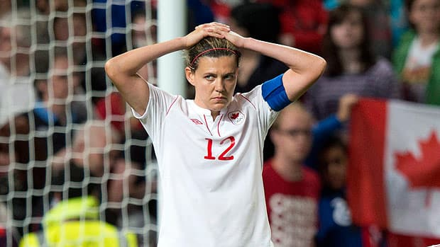 Christine Sinclair of Canada reacts during the heated loss to the United States, which cost the team a shot at an Olympic gold medal. (Frank Gunn/Canadian Press)