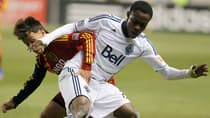 Whitecaps midfielder Gerson Koffie, right, competes with Sebastian Velasquez of Real Salt Lake in a 0-0 draw on Oct. 27. (George Frey/Getty Images)
