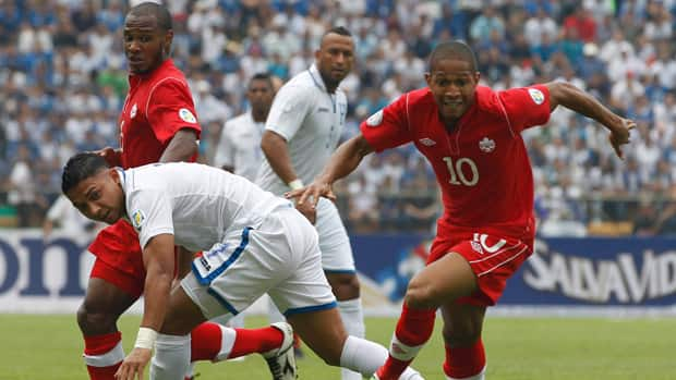 Simeon Jackson, right, and his Canadian teammates suffered a humiliating 8-1 loss to Honduras last October. (Esteban Felix/Associated Press)