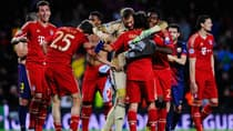 The Bayern Munich team celebrates following its victory during the UEFA Champions League semifinal second leg against Barcelona at Nou Camp on Wednesday in Barcelona, Spain. (David Ramos/Getty Images)