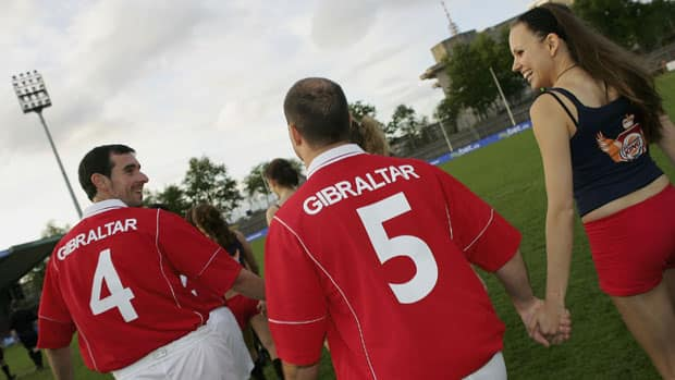 Gibraltar's soccer team has beaten two current members of UEFA -- San Marino and the Faroe Islands. (Stuart Franklin/Bongarts/Getty Images)