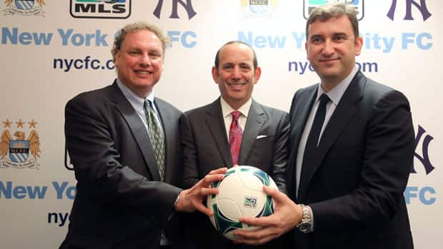 New York Yankees president Randy Levine, left, Major League Soccer commissioner Don Garber, centre, and Manchester City CEO Ferran Soriano were on hand to announce the birth of NYCFC on Tuesday. (Mary Altaffer/Associated)