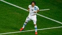 Uruguay's Diego Forlan celebrates after scoring a goal during their Confederations Cup Group B soccer match against Nigeria on Thursday. (Kai Pfaffenbach/Reuters)