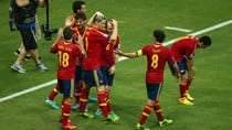 Fernando Torres of Spain (9) celebrates with teammates after scoring his squad's second during the FIFA Confederations Cup against Nigeria Sunday in Fortaleza, Brazil. (Clive Mason/Getty Images)