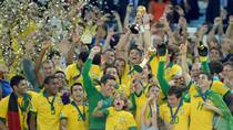 Brazilian players celebrate their victory over Spain at the FIFA Confederations Cup final at the Maracana Stadium in Rio de Janeiro on June 30, 2013. (Vanderlei Almeida/AFP/Getty Images)