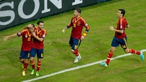 Members of the Spanish soccer team celebrate a goal against Uruguay on Sunday at the Confederations Cup in Recife, Brazil. (Fernando Llano/Associated Press)