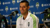 Former U.S. National Team Captain Clint Dempsey speaks to the media during a press conference announcing his signing with the Seattle Sounders FC at CenturyLink Field on Monday in Seattle. (Otto Greule Jr/Getty Images)