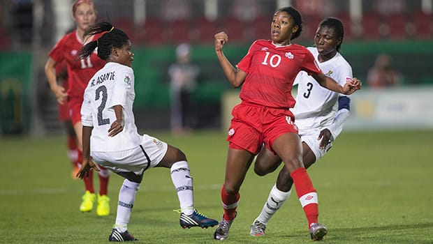 Canada's Ashley Lawrence (10) shies away from heavy traffic in a 1-0 loss to Ghana at National Soccer Stadium in Toronto. (Chris Young/Canadian Press)