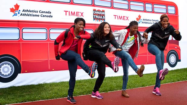 Olympic 100-metre hurdles hopefuls, from left, Perdita Felicien, Priscilla Lopes-Schliep, Nikkita Holder and Phylicia George. (Jeff McIntosh/Canadian Press)