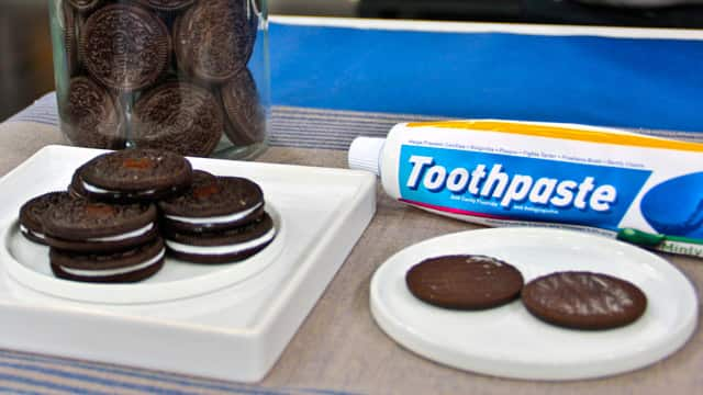 Cookies filled with toothpaste for April Fool's Day