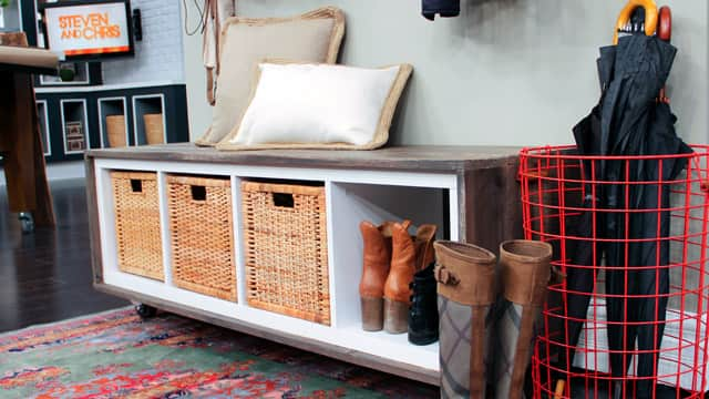 Create A Stylish Diy Front Hall Bench Steven And Chris