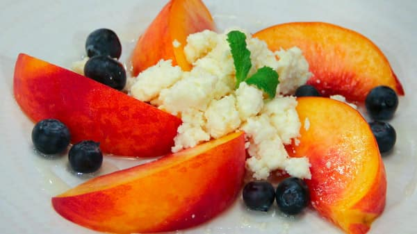 Homemade Ricotta with Peaches and Honey