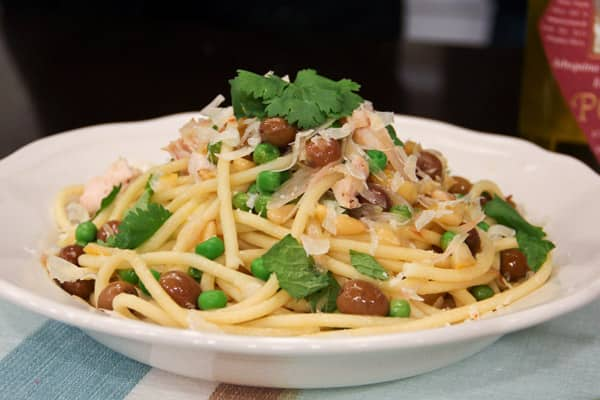 Jo Lusted's Arbequina olive bucatini pasta recipe.