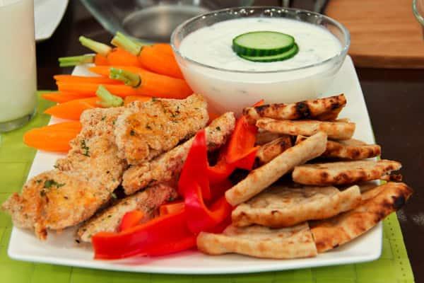 Yogourt-marinated chicken fingers.