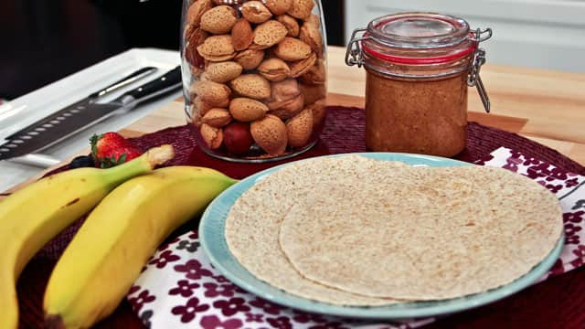 Banana and Crunchy Almond Butter Tortilla Wrap