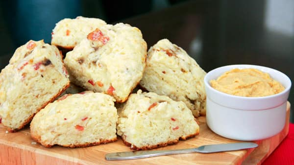 Banana Bacon Scones with Peanut Butter Cream Cheese
