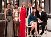 Stylist Erica Wark and her red carpet models with Steven and Chris.