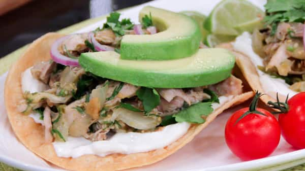 Braised Chicken and Tomatillo Tostadas - Steven and Chris