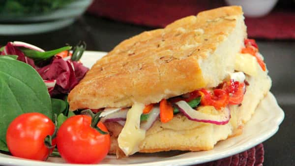 Brie and Roasted Pepper Panino