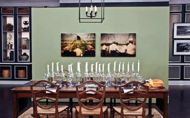 A full view of a casual dinning table. A light green wall with two old & Quick Inexpensive Table Settings For Casual Dinner Parties - Steven ...