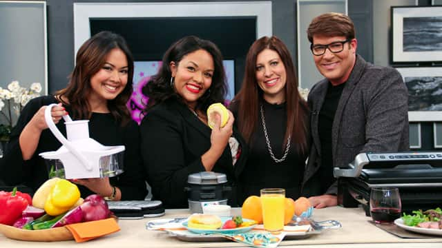 Joanne Alderson, Cher Jones, and Taylor Kaye pose with Chris Hyndman and the kitchen products they tested out.