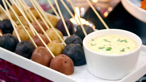 Mini Potato Skewers with Ranch Dip