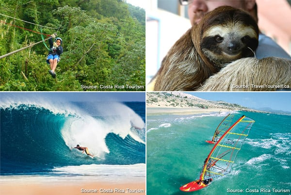 photo collage of activities to do in Costa Rica