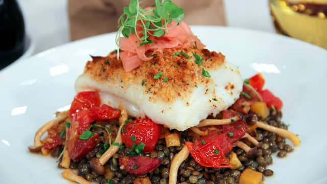 Crusted Cod with Chorizo by Chef Daniel Mezzolo