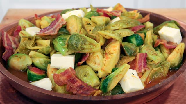 Curried Brussels Sprouts with Paneer and Bacon by Chef Vikram Vij