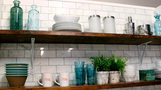Open shelving in the S&C kitchen