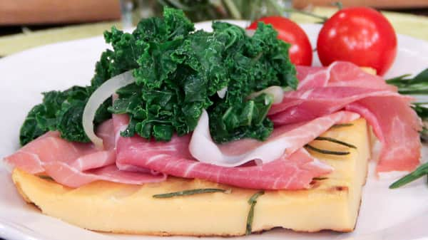 Farinata with Proscuitto & Kale