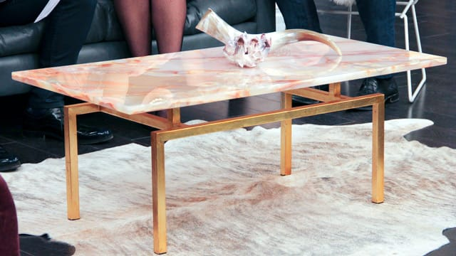 Feminine Living Room with a Masculine Edge: Pink and Gold Onyx Coffee Table