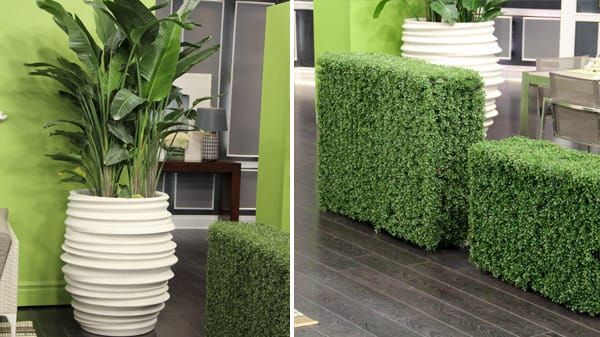 Oversized planters and greenery separation