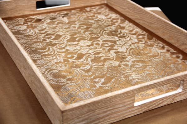 DIY gold-lace tray.