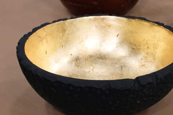 DIY gold leaf salad bowl.