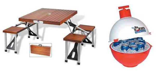 Folding picnic table, floating cooler