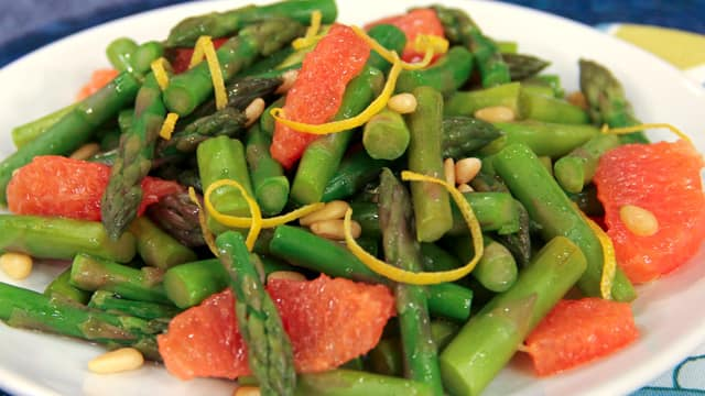 Grilled asparagus with pine nuts and grapefruit by Angela Warburton
