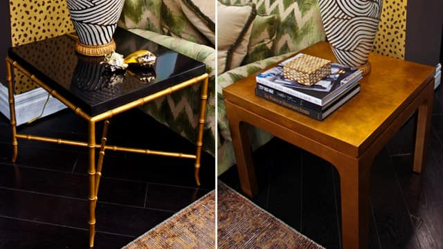 Two different end tables. Left side is black with gold accents, right side is plain gold.
