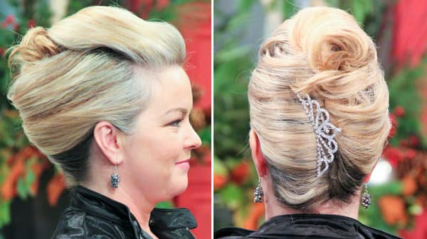 Hairstyles Holiday : Brush all of your hair back - as if into a ponytail.