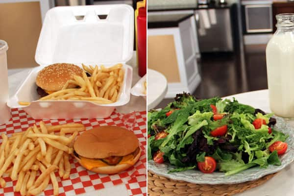 Photo composite: Fast food burger on the left, salad and milk on the right.