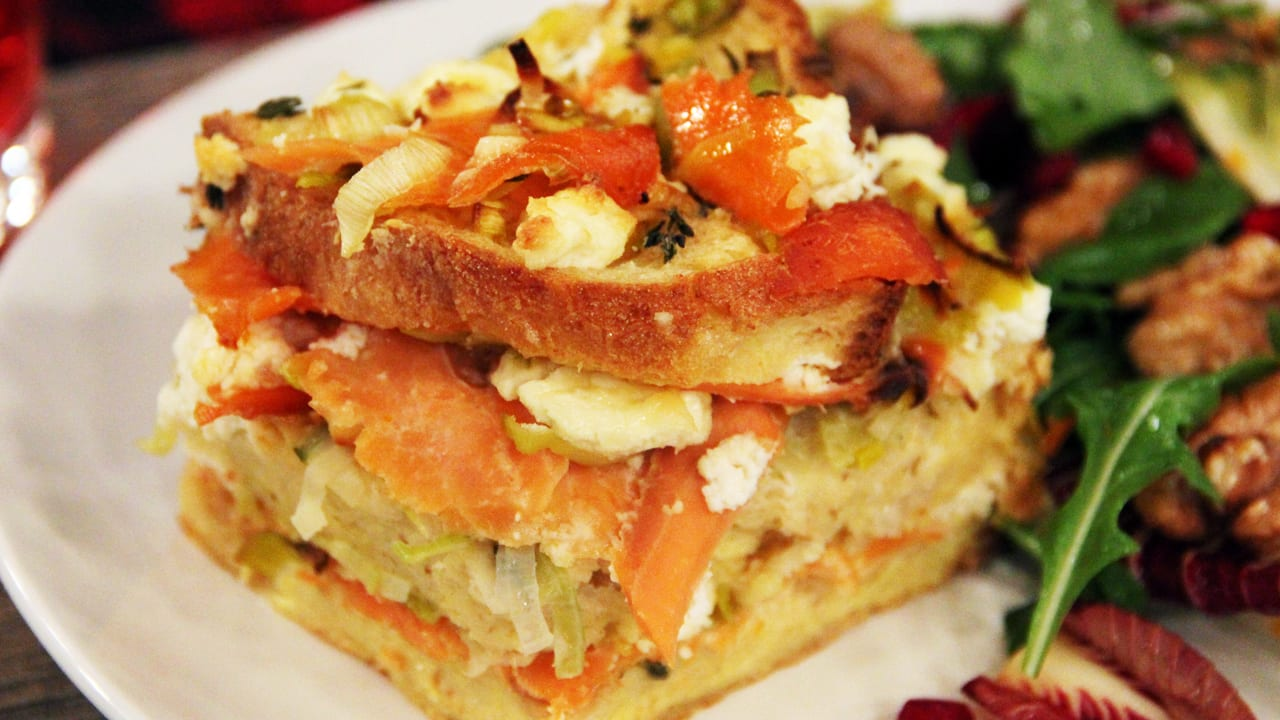 Egg And Cheese Breakfast Casserole With Smoked Salmon And Leeks ...